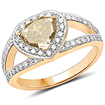 18K Yellow Gold 1.40 Carat Genuine Brown Diamond and White Diamond Ring
