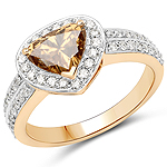 18K Yellow Gold 1.62 Carat Genuine Choclate BrownDiamond and White Diamond Ring