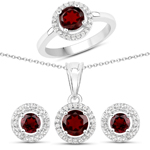 2.84 Carat Genuine Garnet and White Topaz .925 Sterling Silver 3 Piece Jewelry Set (Ring, Earrings, and Pendant w/ Chain)