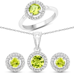 2.48 Carat Genuine Peridot and White Topaz .925 Sterling Silver 3 Piece Jewelry Set (Ring, Earrings, and Pendant w/ Chain)
