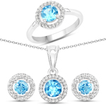 3.04 Carat Genuine Swiss Blue Topaz and White Topaz .925 Sterling Silver 3 Piece Jewelry Set (Ring, Earrings, and Pendant w/ Chain)