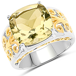 7.05 Carat Genuine Lemon Quartz .925 Sterling Silver Ring