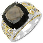 Two Tone Plated 7.09 Carat Genuine Smoky Topaz .925 Sterling Silver Ring