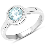 0.75 Carat Genuine Aquamarine .925 Sterling Silver Ring