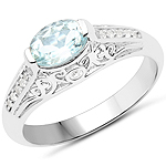 0.77 Carat Genuine Aquamarine and White Zircon .925 Sterling Silver Ring