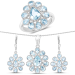 9.74 Carat Genuine Blue Topaz .925 Sterling Silver 3 Piece Jewelry Set (Ring, Earrings, and Pendant w/ Chain)