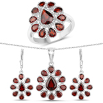 9.98 Carat Genuine Garnet .925 Sterling Silver 3 Piece Jewelry Set (Ring, Earrings, and Pendant w/ Chain)