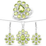 8.36 Carat Genuine Peridot .925 Sterling Silver 3 Piece Jewelry Set (Ring, Earrings, and Pendant w/ Chain)