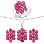 """8.60 Carat Genuine Ruby .925 Sterling Silver 3 Piece Jewelry Set (Ring, Earrings, and Pendant w/ Chain)"""