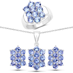 """6.60 Carat Genuine Tanzanite .925 Sterling Silver 3 Piece Jewelry Set (Ring, Earrings, and Pendant w/ Chain)"""