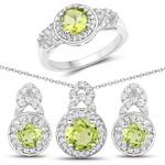 2.68 Carat Genuine Peridot and White Topaz .925 Sterling Silver 3 Piece Jewelry Set (Ring, Earrings, and Pendant w/ Chain)