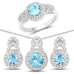 3.24 Carat Genuine Swiss Blue Topaz and White Topaz .925 Sterling Silver 3 Piece Jewelry Set (Ring, Earrings, and Pendant w/ Chain)