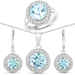14.39 Carat Genuine Blue Topaz and White Topaz .925 Sterling Silver 3 Piece Jewelry Set (Ring, Earrings, and Pendant w/ Chain)