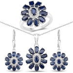 9.56 Carat Genuine Blue Sapphire and White Topaz .925 Sterling Silver 3 Piece Jewelry Set (Ring, Earrings, and Pendant w/ Chain)