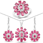 """11.10 Carat Genuine Ruby and White Topaz .925 Sterling Silver 3 Piece Jewelry Set (Ring, Earrings, and Pendant w/ Chain)"""