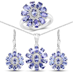 """9.56 Carat Genuine Tanzanite and White Topaz .925 Sterling Silver 3 Piece Jewelry Set (Ring, Earrings, and Pendant w/ Chain)"""