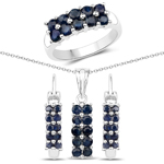 3.20 Carat Genuine Blue Sapphire .925 Sterling Silver 3 Piece Jewelry Set (Ring, Earrings, and Pendant w/ Chain)