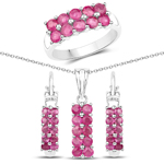 3.60 Carat Genuine Ruby .925 Sterling Silver 3 Piece Jewelry Set (Ring, Earrings, and Pendant w/ Chain)