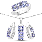 """2.70 Carat Genuine Tanzanite .925 Sterling Silver 3 Piece Jewelry Set (Ring, Earrings, and Pendant w/ Chain)"""