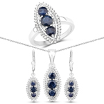 4.30 Carat Genuine Blue Sapphire and White Topaz .925 Sterling Silver 3 Piece Jewelry Set (Ring, Earrings, and Pendant w/ Chain)