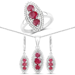 """4.32 Carat Genuine Ruby and White Topaz .925 Sterling Silver 3 Piece Jewelry Set (Ring, Earrings, and Pendant w/ Chain)"""