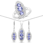 """3.62 Carat Genuine Tanzanite and White Topaz .925 Sterling Silver 3 Piece Jewelry Set (Ring, Earrings, and Pendant w/ Chain)"""