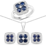 3.88 Carat Genuine Blue Sapphire and White Topaz .925 Sterling Silver 3 Piece Jewelry Set (Ring, Earrings, and Pendant w/ Chain)