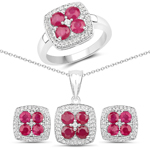 4.20 Carat Genuine Ruby and White Topaz .925 Sterling Silver 3 Piece Jewelry Set (Ring, Earrings, and Pendant w/ Chain)