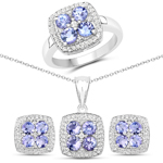 3.40 Carat Genuine Tanzanite and White Topaz .925 Sterling Silver 3 Piece Jewelry Set (Ring, Earrings, and Pendant w/ Chain)