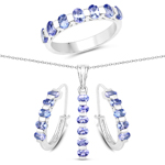 """3.91 Carat Genuine Tanzanite .925 Sterling Silver 3 Piece Jewelry Set (Ring, Earrings, and Pendant w/ Chain)"""