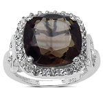 6.70 ct. t.w. Smoky Quartz and White Topaz Ring in Sterling Silver