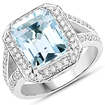 5.33 Carat Genuine Aquamarine and White Diamond 14K White Gold Ring