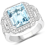 5.09 Carat Genuine Aquamarine and White Diamond 14K White Gold Ring