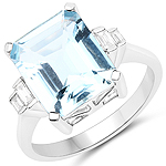 4.33 Carat Genuine Aquamarine and White Diamond 14K White Gold Ring