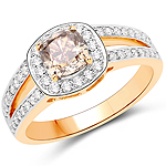 1.44 Carat Genuine TLB Diamond and White Diamond 18K Yellow Gold Ring
