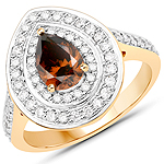 1.57 Carat Genuine Chocolate Brown Diamond and White Diamond 18K Yellow Gold Ring