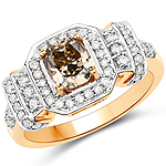 1.40 Carat Genuine TTLB Diamond and White Diamond 18K Yellow Gold Ring