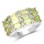 4.32 Carat Genuine Peridot .925 Sterling Silver Ring