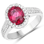 2.18 Carat Genuine Rubellite and White Diamond 14K White Gold Ring