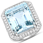 16.85 Carat Genuine Aquamarine and White Diamond 14K White Gold Ring