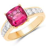 2.70 Carat Genuine Rubellite and White Diamond 14K Yellow Gold Ring