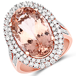8.93 Carat Genuine Morganite and White Diamond 14K Rose Gold Ring