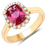 2.10 Carat Genuine Rubellite and White Diamond 14K Yellow Gold Ring