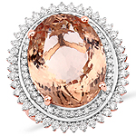 15.84 Carat Genuine Morganite and White Diamond 14K Rose Gold Ring
