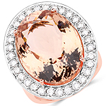 18.37 Carat Genuine Morganite and White Diamond 14K Rose Gold Ring
