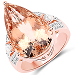 14.97 Carat Genuine Morganite and White Diamond 14K Rose Gold Ring