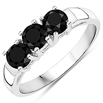 1.18 Carat Genuine Black Diamond .925 Sterling Silver Ring