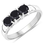 1.19 Carat Genuine Black Diamond .925 Sterling Silver Ring