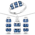 4.44 Carat Genuine Blue Sapphire and White Topaz .925 Sterling Silver 3 Piece Jewelry Set (Ring, Earrings, and Pendant w/ Chain)