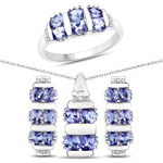 """3.78 Carat Genuine Tanzanite and White Topaz .925 Sterling Silver 3 Piece Jewelry Set (Ring, Earrings, and Pendant w/ Chain)"""